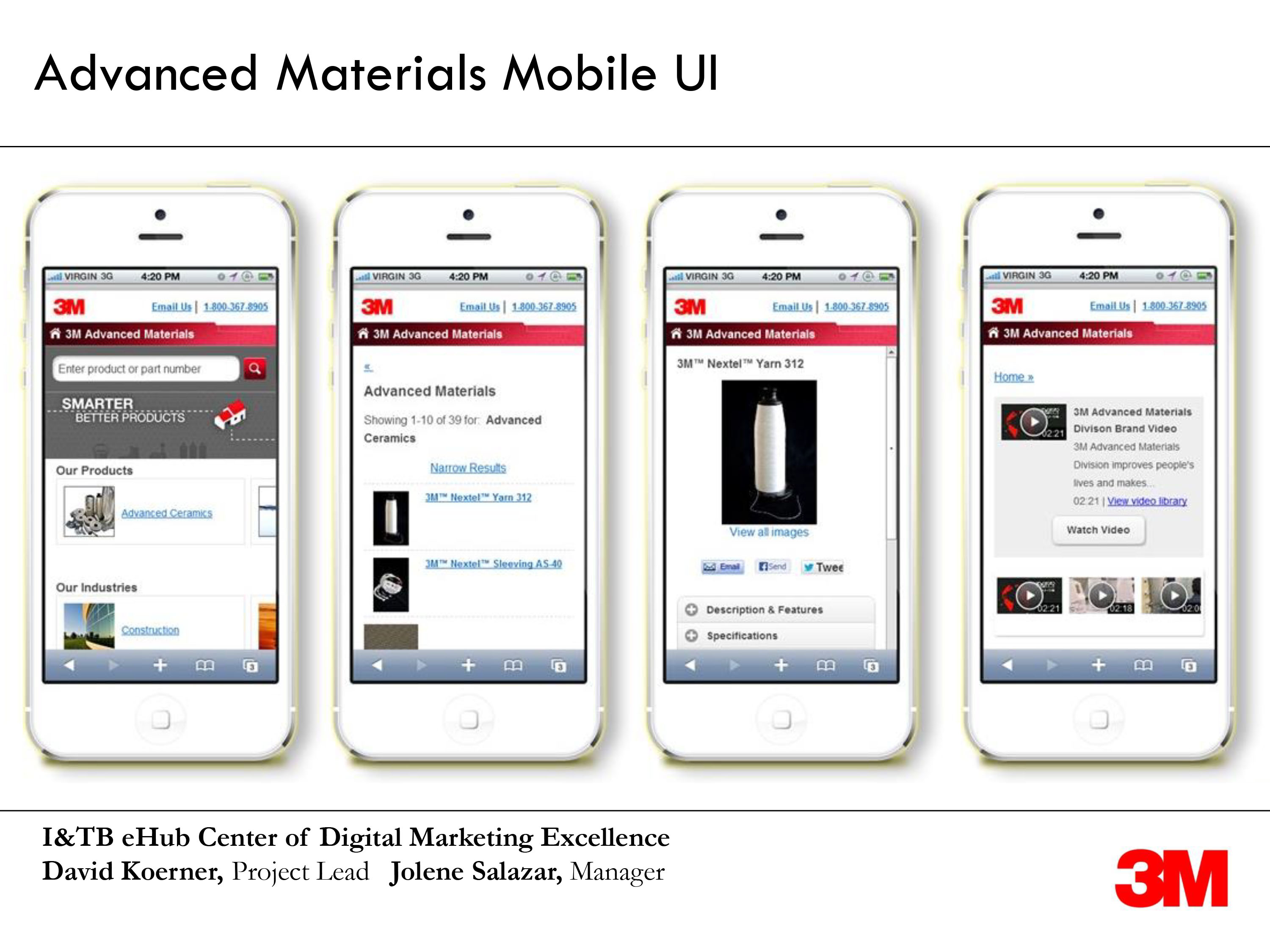 marketing screenshots by dave koerner of 3M devices