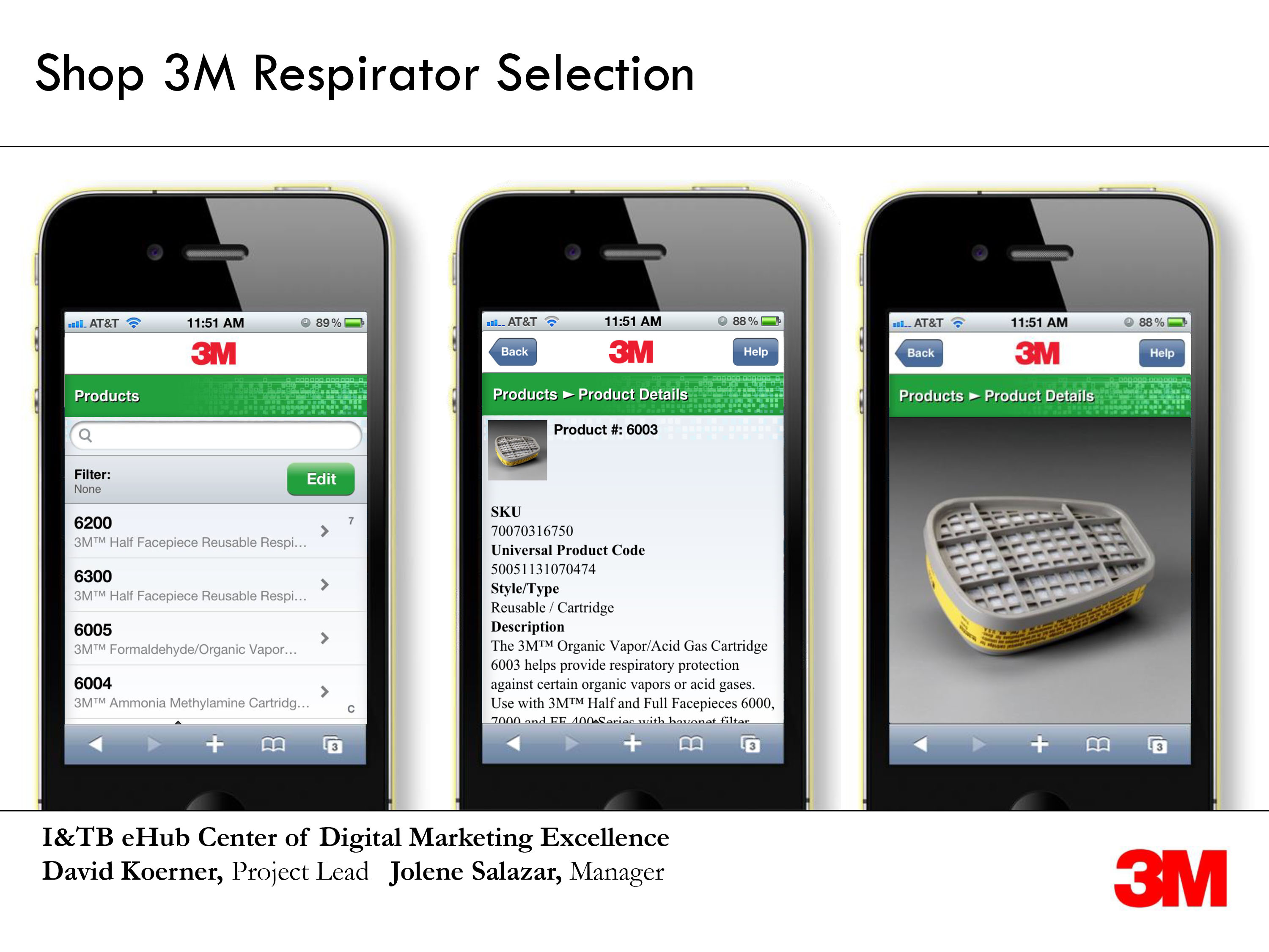 Screenshots on three devices of shop 3M