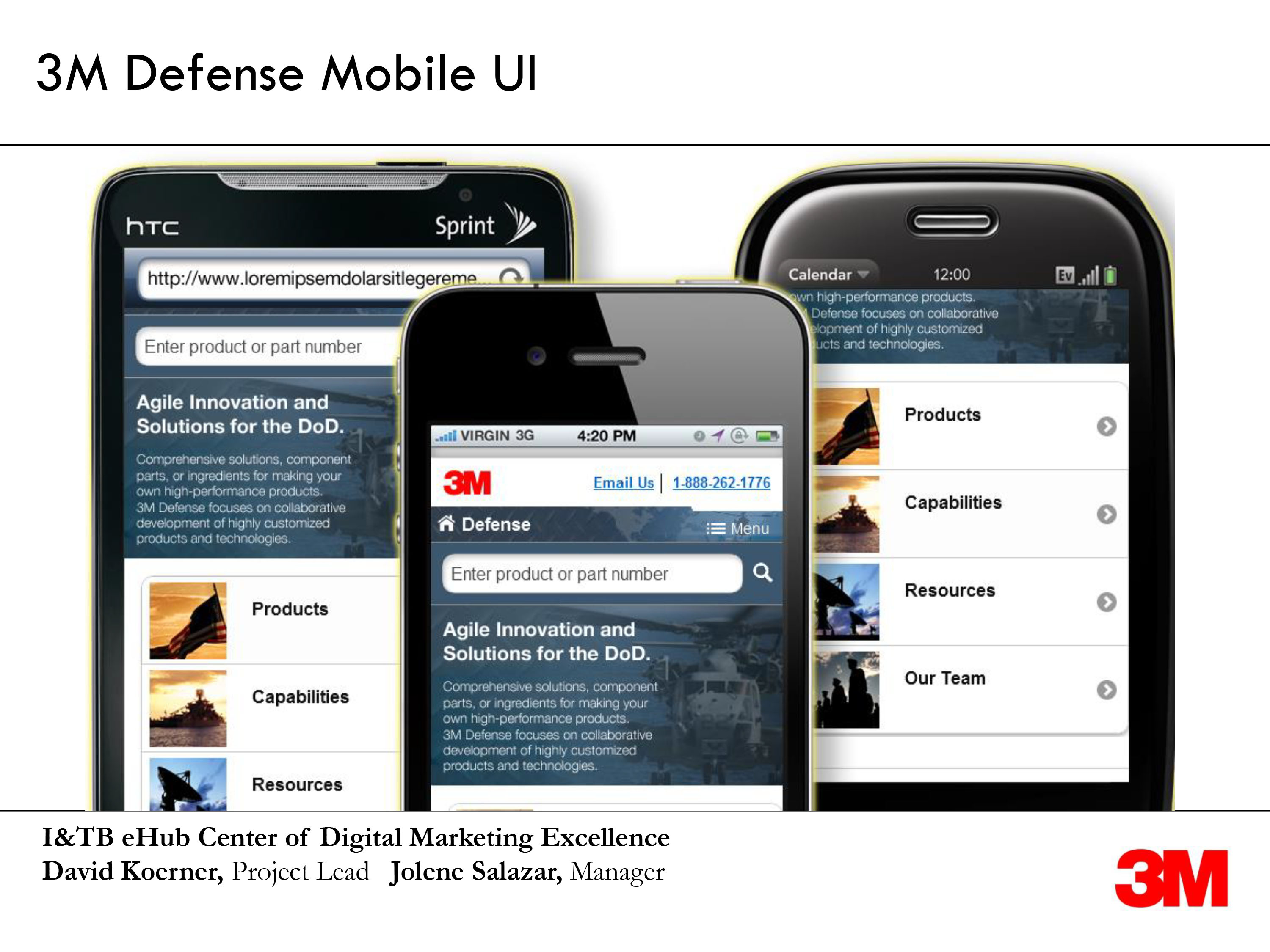 Screenshots of a new mobile 3M defense site on black phones