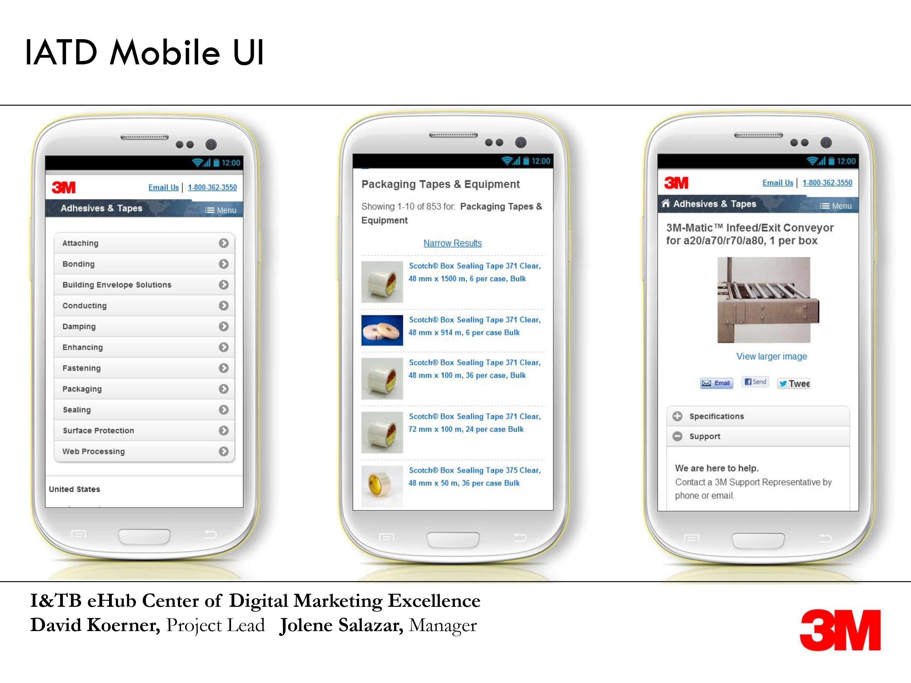 IATD mobile product screenshots on white phones