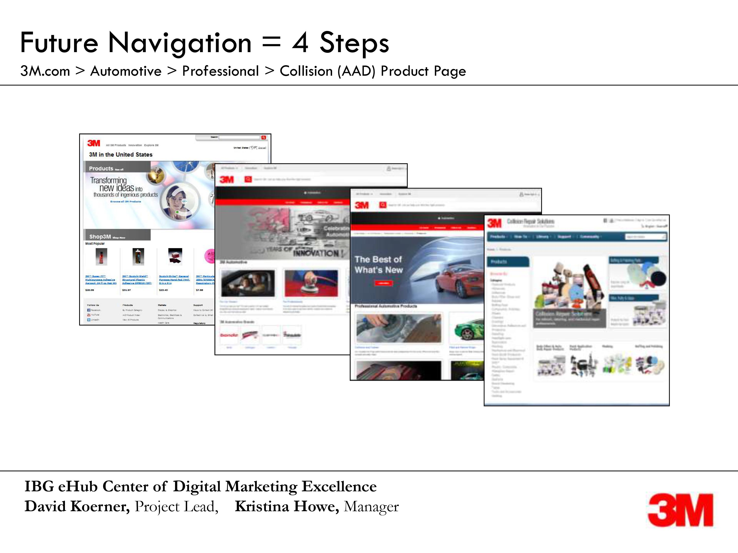 4 screens of product navigation